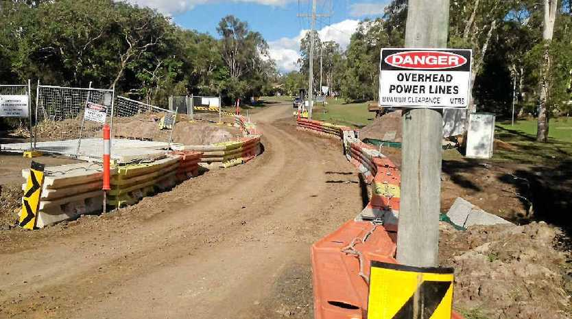 The temporary solution to fix Acardia Dr after the road collapsed Sunday morning.