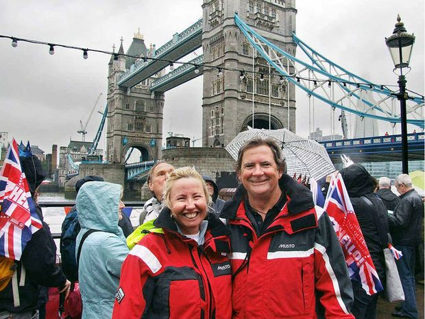 Karen and Rob Oberg in soggy London for the jubilee river pageant.