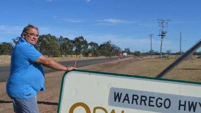 SAFETY CONCERNS: Tom Bartley worries trucks will veer off the Warrego Hwy and slam into his property in Yuleba.