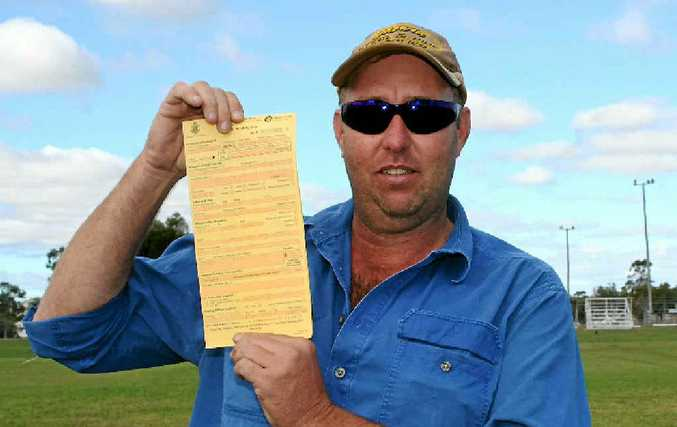 Gin Gin man Jamie Lavercrombe is upset he was fined $100 by police for peeing on the side of the road when he was more than 30km away from the nearest toilet.