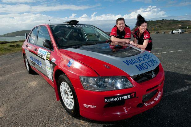Michael and Helen Boaden with the Boaden Motorsport Lancer.