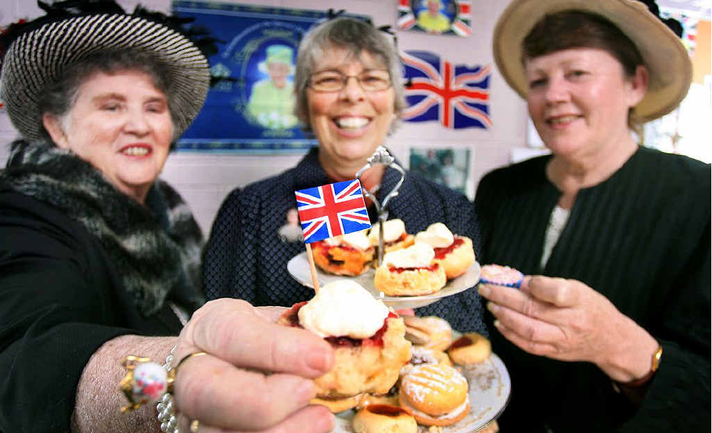 Gabrielle Dempster, Marilyn Varvaro and Claire McCleand celebrate the Queen's diamond jubilee.