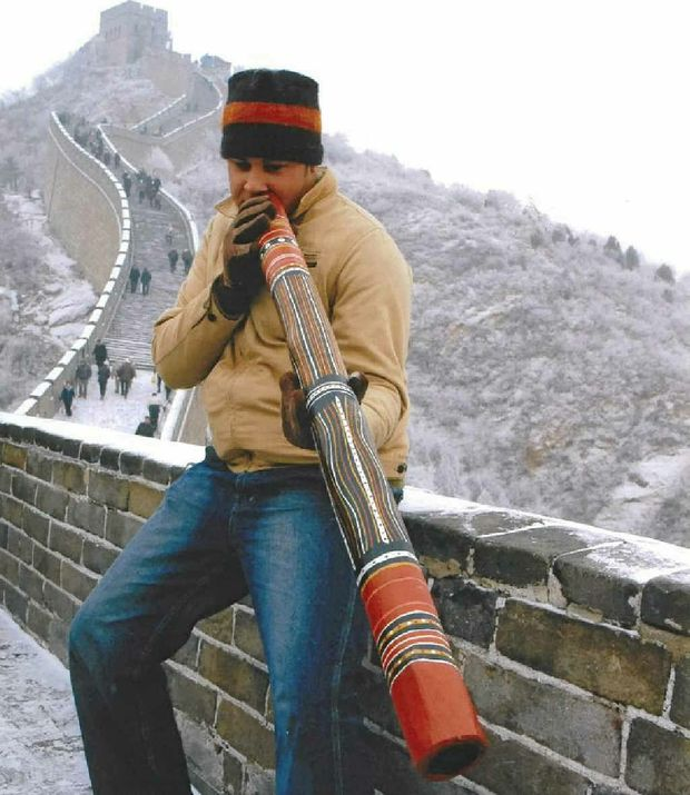 David Williams plays the didgeridoo on China's Great Wall. He has played at Westminster Abbey and at the opening ceremony of the Beijing Olympic Games in 2008.