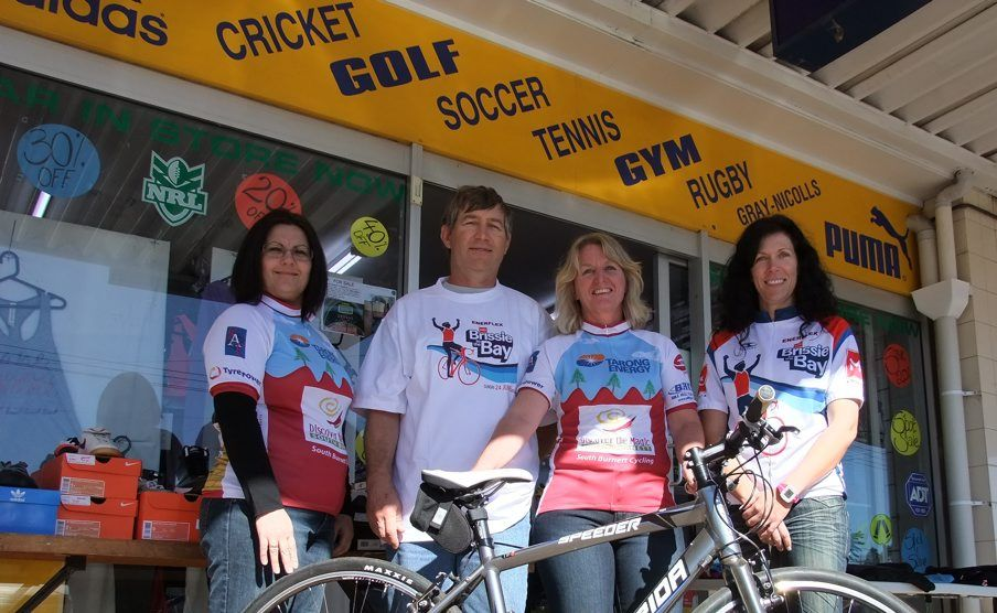 UP TO THE CHALLENGE: Josie Potter (second from right) lives with MS, but that won't stop her from  riding 25km in the Brissie To Bay bike ride fundraiser with fellow riders from the left: Cathy Goodhew, Keith Parker and Glenda Smith \