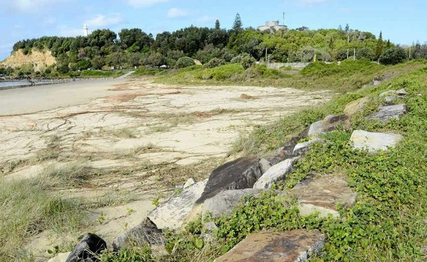 Sand was ripped from the breakwall behind Turners Beach after the swell this week.