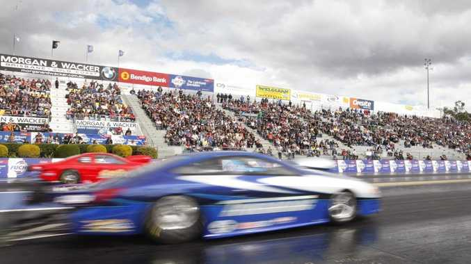 Drag racing at the Winternationals at Willowbank Raceway on Saturday.