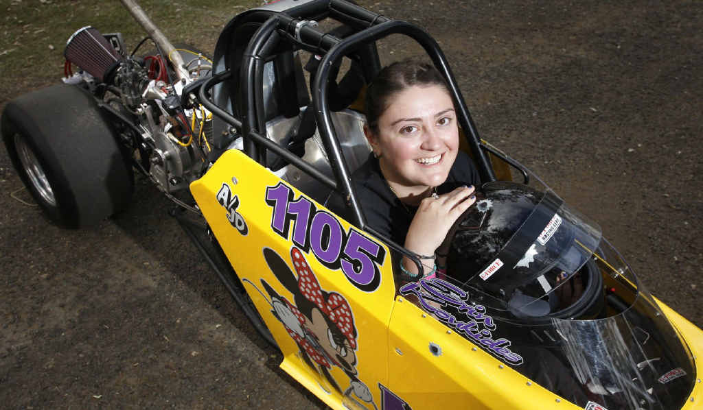 Sydney girl Erin Koukides, 16, in her junior dragster at the Winternationals at Willowbank at the weekend.