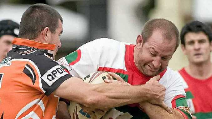 Pittsworth prop Matthew Briggs is wrapped up by the Souths defence.