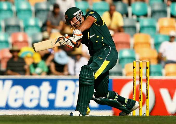 Peter Forrest of Australia plays a shot during the One Day International match between Australia and Sri Lanka at Bellerive Oval on February 24, 2012 in Hobart, Australia.