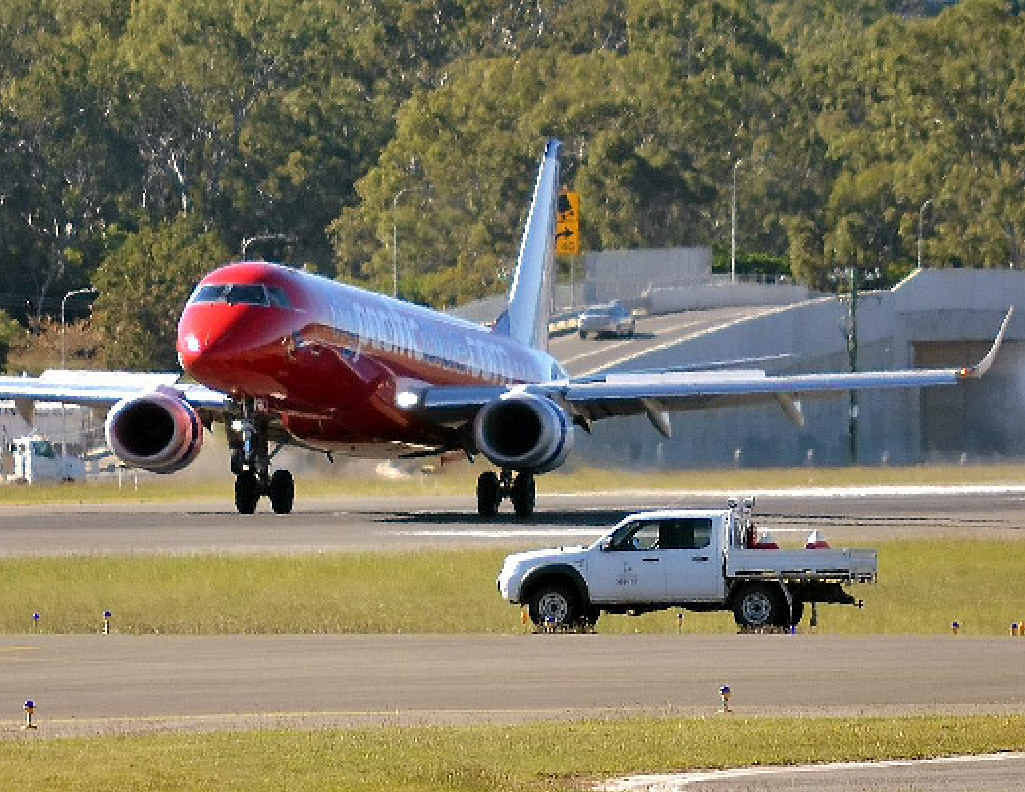 Virgin's jet touched down at Gladstone Airport.