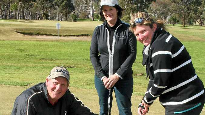 Warwick golf professional Rob McConnell with Trish Bell and Trish Roberts at a ladies' golf clinic, which will continue for another five weeks.