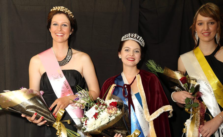 ROYAL GIRLS: Miss Personality Alexis Hindmarsh, Festival Queen Brianna Hockey and Community Vote Laura Kling. Photo Susan McLaughlan
