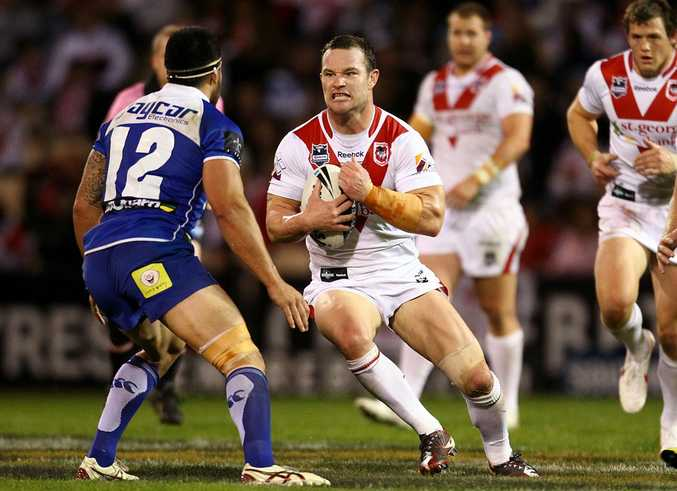 Craig Young of the Dragons runs the ball during the round 15 NRL match between the St George Illawarra Dragons and the Canterbury Bulldogs at WIN Stadium