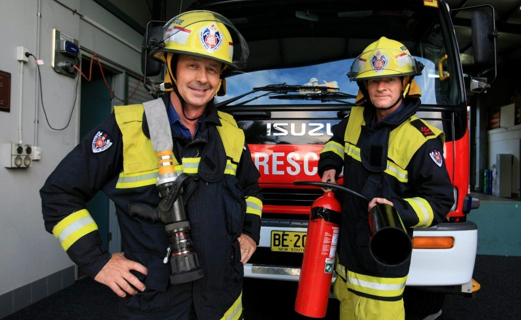 Tweed Heads firefighters are one truck down following a mechanical problem. Here Geoff Newham and Brian Donachie pose to preview an open day at the station earlier this year.