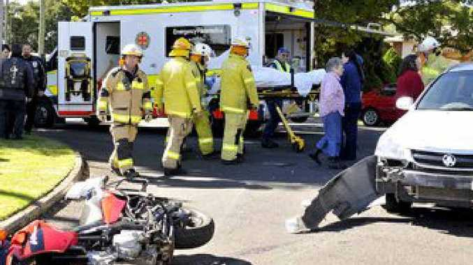 The rider of a motorcycle was taken to hospital after a crash.