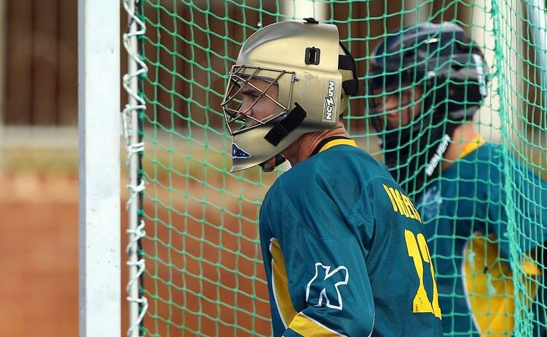 Nathan Burgers looks on from the goals during an Australian Kookaburras training session at Shenton Park on April 18, 2012 in Perth, Australia.