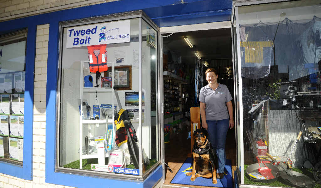 Lorraine Hoban and dog Ellie of Gone Fishin' in Fitzroy St, Grafton is encouraging people to shop locally.