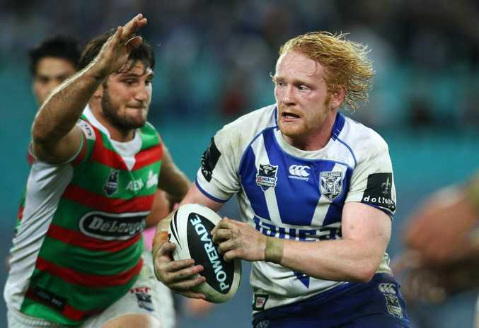 James Graham of the Bulldogs runs the ball during the round 13 NRL match against the South Sydney Rabbitohs.
