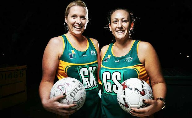 Robyn Massy and Brooke Dixon shone for the Australian indoor netball team at Darra. Photo: Rob Williams