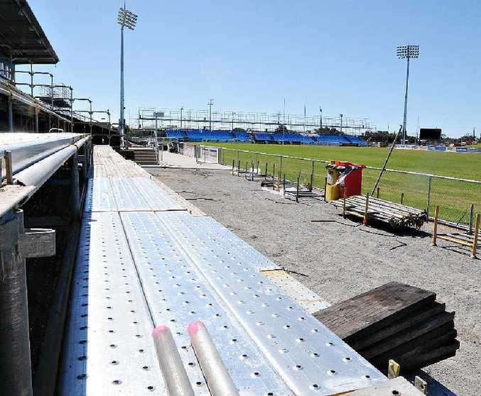 Scaffolding work at the stadium.