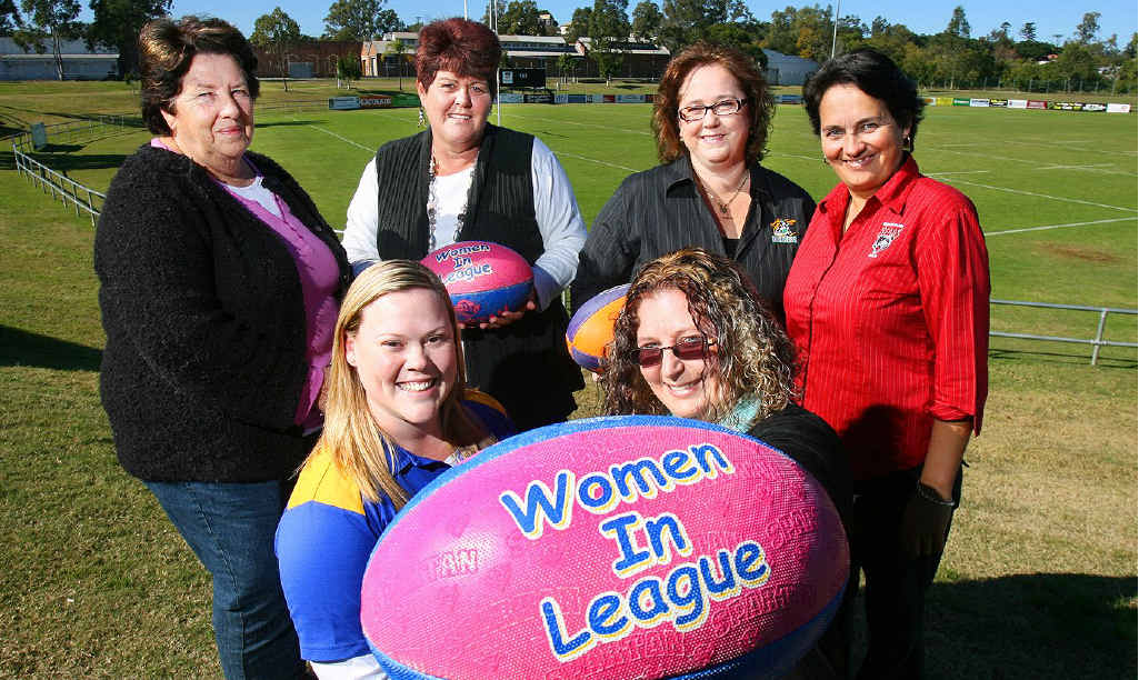 Marilyn Levao, Julie Gerchow, Trish Hollands, Sarah Booth, Jess Sommerfeld and Rachael Williamson get ready for the Ipswich Rugby League dinner at Marburg tonight.