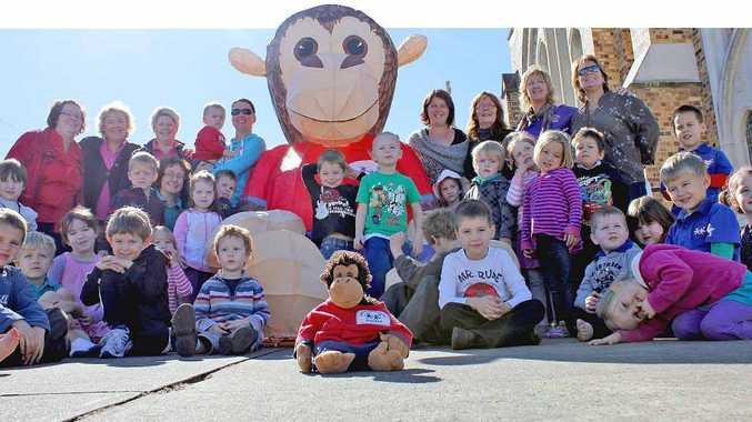 LARGER THAN LIFE: Big Gilbert meets little Gilbert and the kids of St Andrew's Parish Preschool.
