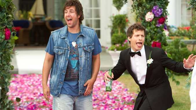 Adam Sandler, left, and Andy Samberg in a scene from the movie That's My Boy.