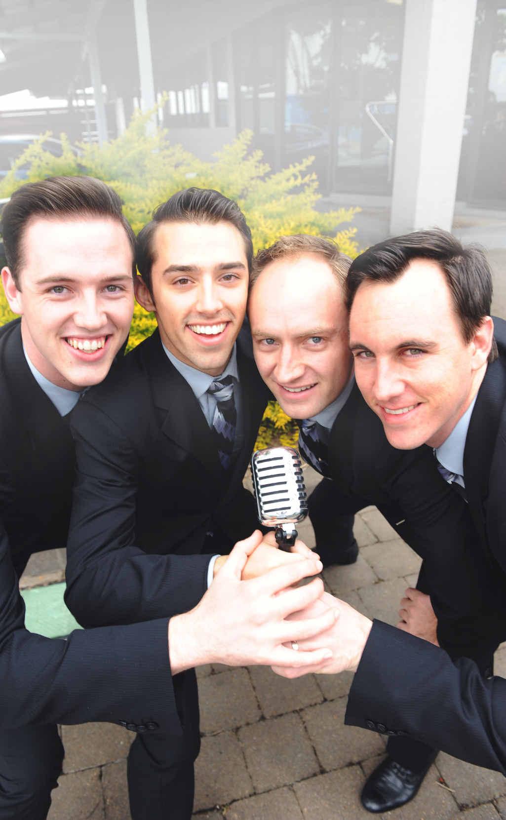The Jersey Boys Declan Egan, Dion Bilios, Anthony Harkin and Glaston Toft visit Bundaberg on their regional tour.