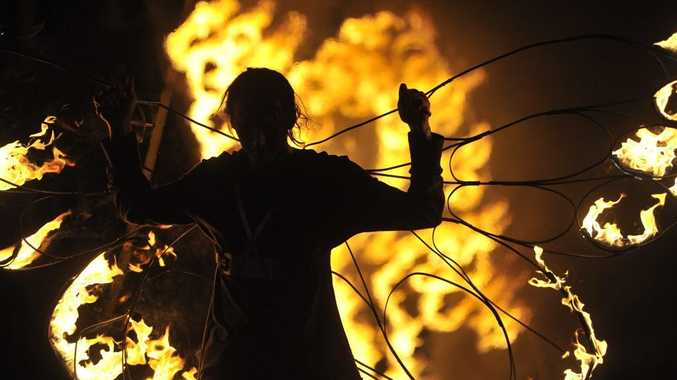 As always punters were rewarded with a fiery spectacle at the end of the Lismore Lantern Parade.