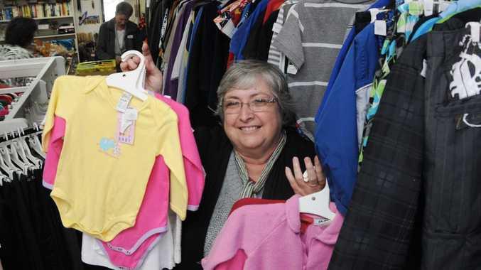 Lifeline volunteer Margaret Cook getting ready for the $2 sale.