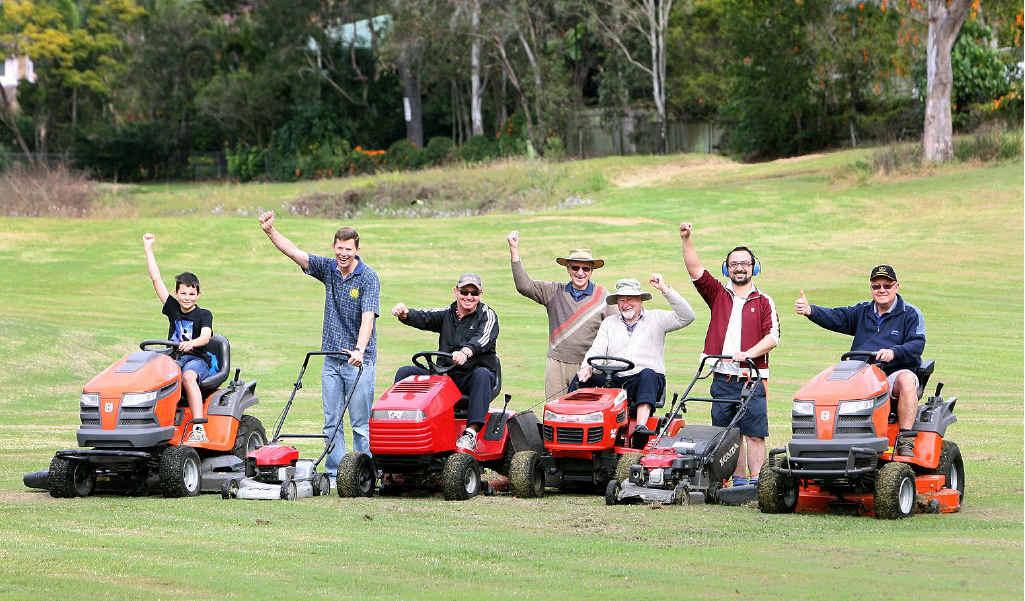 Karana Downs residents Mitchell and Robert Westmoreland, Danny Bates, Roy Foster, John Chapman, Martino Soldati and Alan Jones on the fairway.