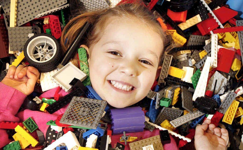 Three-year-old Kleeya Martin at the Lego competition at Redbank Plaza.