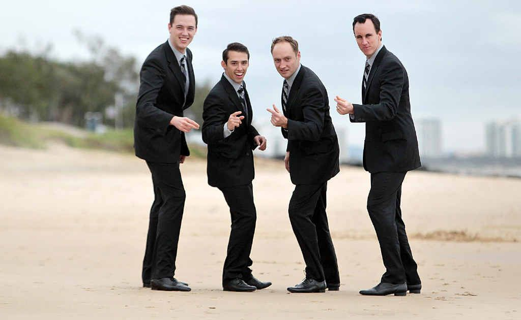 Declan Egan, Dion Bilios, Anthony Harkin and Glaston Toft promote their show at Mooloolaba.