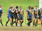 Beerwah players celebrate scoring a try against Maroochydore.