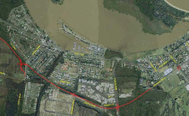 The Yamba bypass map presented at the committee meetings but the route was changed this week.