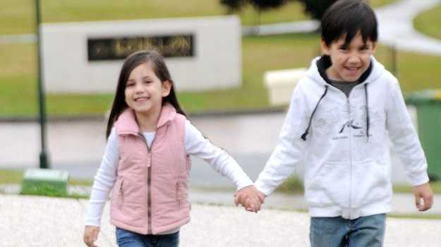 Hadlee and Aiden Buchanan of Jones Hill, which has emerged as a young and better-off suburb.