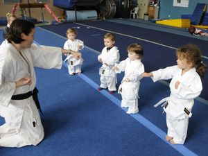 Mikayla all ready to learn karate