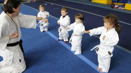 Kinder Karate classes to start at the PCYC in July. Instructor Karina Seeto is pictured with (from left) Sophia Hess, Lachlan Betros, Mikayla McLachlan and Ella Seeto.
