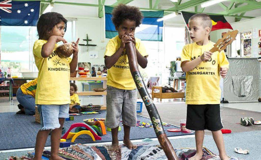 Children at C&K; Amaroo Community Kindergarten enjoy their musical instruments.