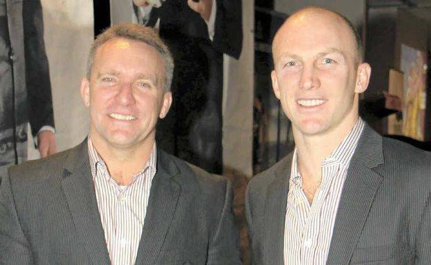 Broncos chief executive Paul White and Darren Lockyer at the Andergrove Tavern for the Broncos Regional Dinner.