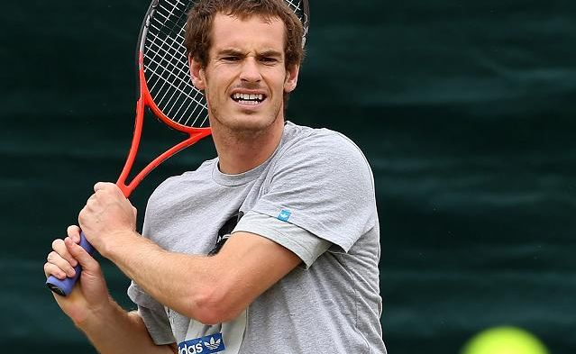 Andy Murray in aciton during in a practice session at Wimbledon on July 1 in London, England.