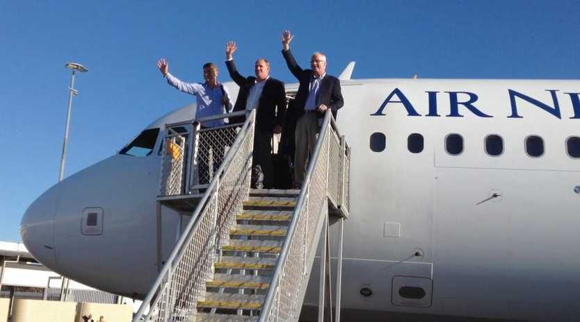 Sunshine Coast mayor Mark Jamieson and local councillor Jason Opray were among the first to get off the  flight from Auckland  launching the Coast as an international destination.
