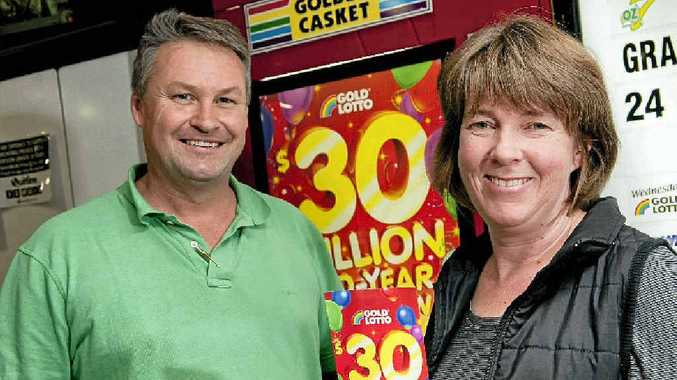 Tony and Karen Hynes, from The Lucky Charm Newsagency at Toowoomba Plaza, sold a $1.25 million prize ticket in Saturday's Gold Lotto draw.