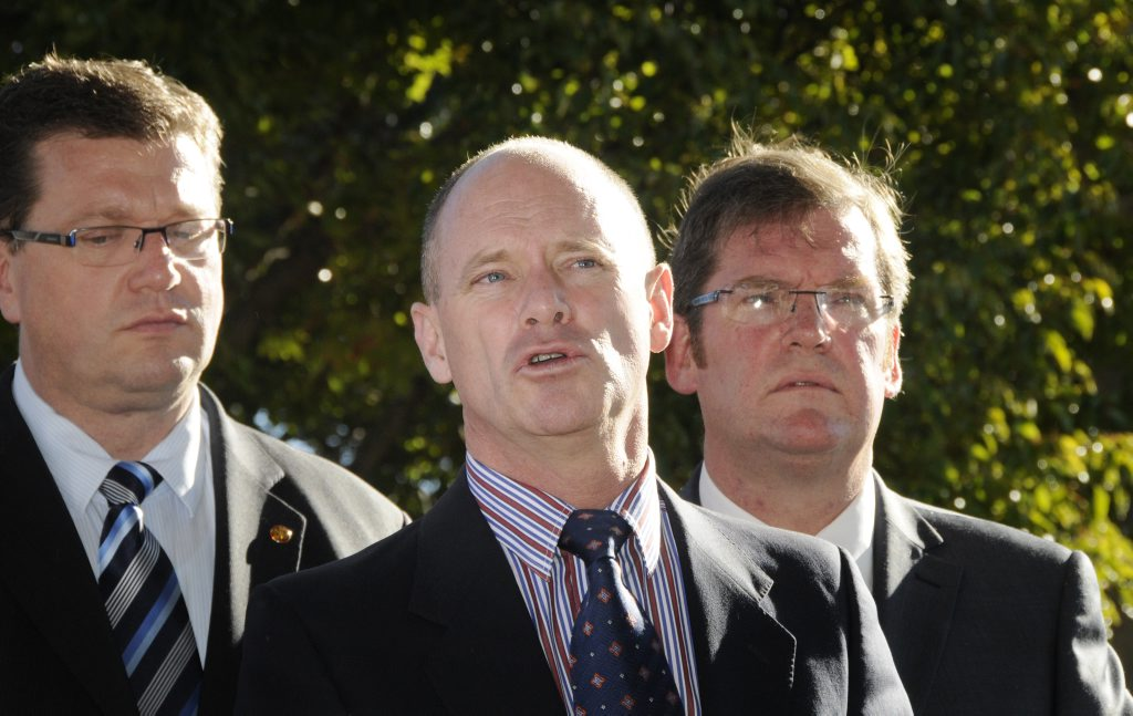 Premier Campbell Newman in Toowoomba to celebrate his 100 days as Premier. An LNP luncheon was held at The Spotted Cow. Speaking at the press conference is the prmeier with Trevor Watts (left) and John McVeigh. Photo: Bev Lacey / The Chronicle