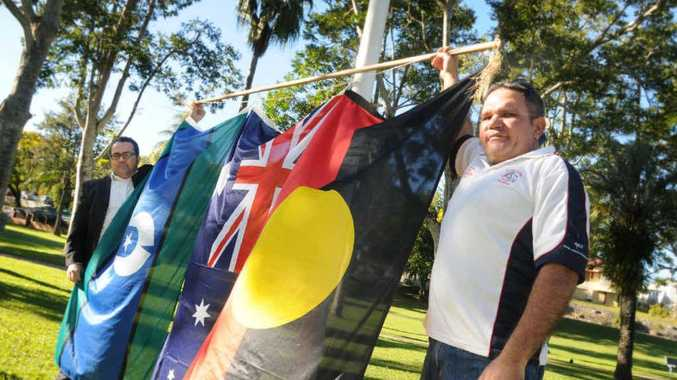 Mark Allan and Richard Mason launched NAIDOC Week with flying flags.