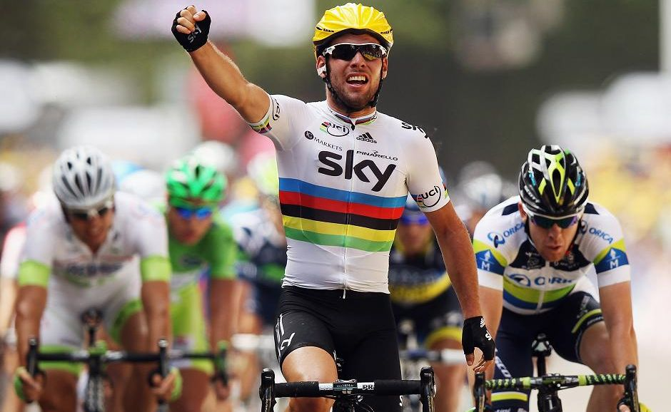 World Road Race Champion Mark Cavendish of Great Britain and SKY Procycling celebrates winning stage two of the 2012 Tour de France from Vise to Tournai on July 2.
