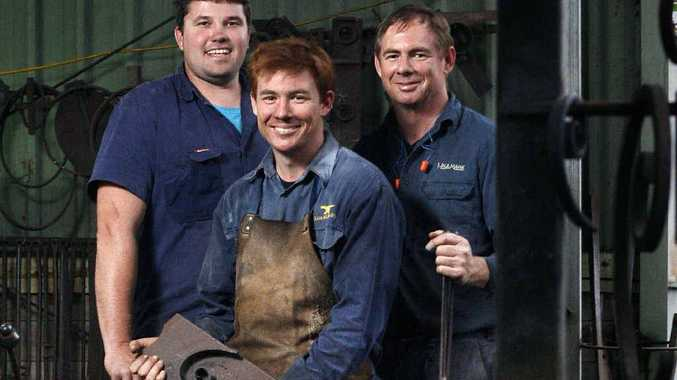Joel Dean, Andrew Wilson and his father Steve are part of the Dean-Wilson Iron foundry.