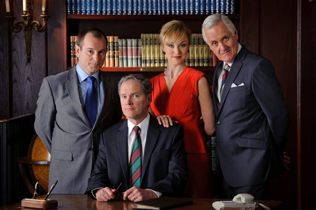 The cast of the theatrical adaptation of Yes Prime Minister, from left, John Lloyd Fillingham, Mark Owen Taylor, Caroline Craig and Tony Llewellyn-Jones.