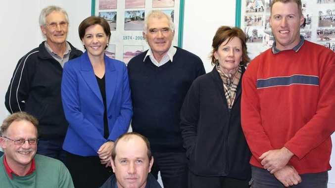 Member for Nanango, Deb Frecklington (back, second from left) celebrates the creation of a standalone Department of Agriculture with staff from the Bjelke-Petersen Research Station in Kingaroy (back, from left) Gary Harsh, Allan Broome, Geryr Goldsmith and Scott Campbell (front, from left) Mike Bell and Steve Krosch