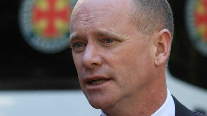 Campbell Newman addresses the media.